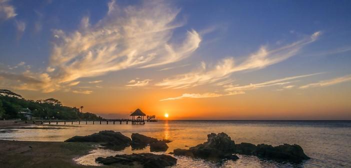 sunset over roatan