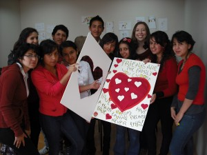Jen with her after-school English class on Valentine's Day