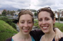Jen and her sister, Amanda, in Ecuador by the Tomebamba River with Cajas in the background