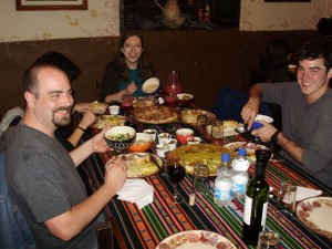 Jen having dinner at Tiesto's, a local landmark known to have the best steaks in Ecuador