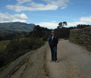 Jen at Ingapirca, the largest known Inca ruins in Ecuador