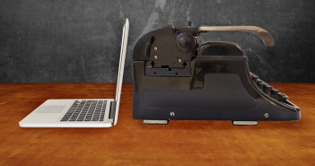 laptop and typewriter