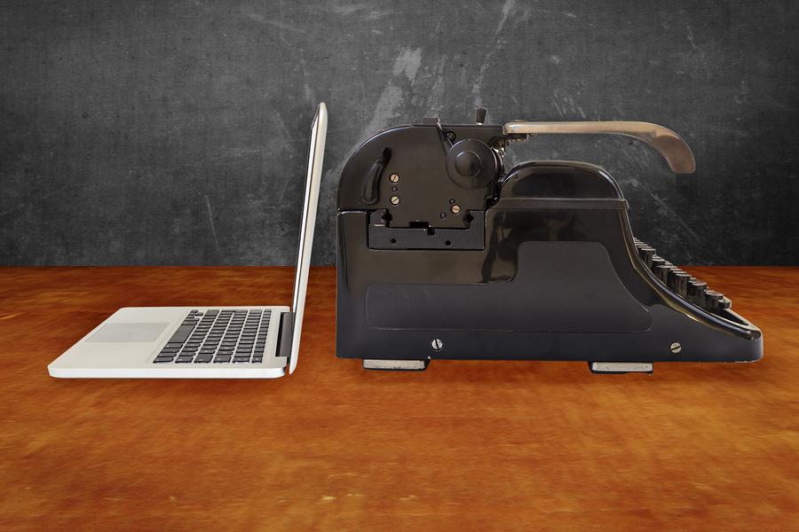 laptop and typewriter