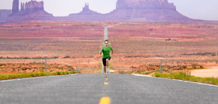 man running on road