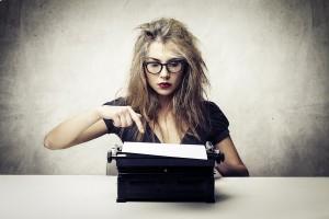 blonde journalist with typewriter