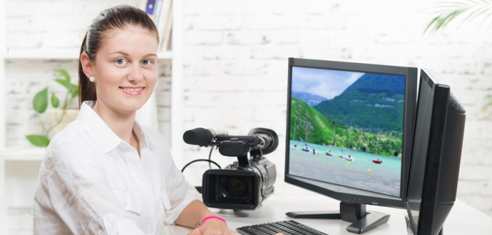 email writer preparing video on computer