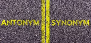 Tarmac With The Words Antonym And Synonym