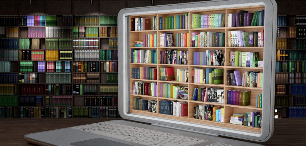 laptop with books on its screen