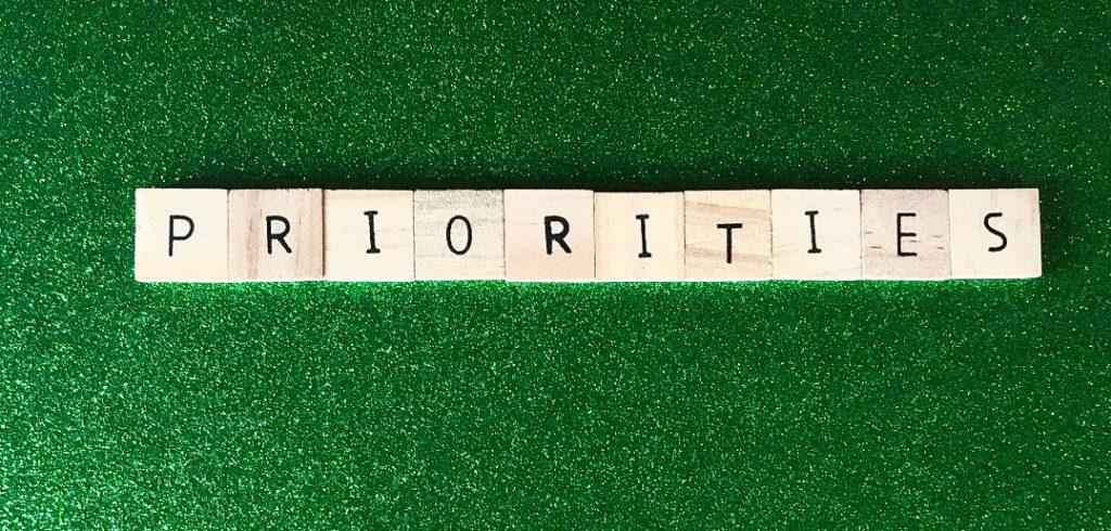 priorities word in scrabble tiles