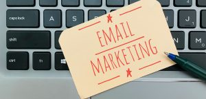 words email marketing on a keyboard